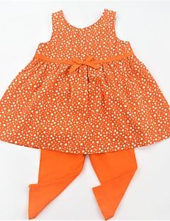 billige Tøjsæt til piger-Pige Tøjsæt Daglig Skole Prikker, Bomuld Sommer Uden ærmer Afslappet Aktiv Blå Orange