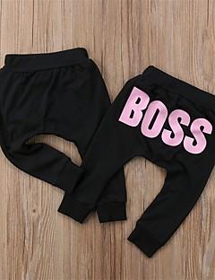 billige Bukser og leggings til piger-Unisex Bukser Daglig I-byen-tøj Ensfarvet Trykt mønster, Bomuld Forår Efterår Langærmet Simple Afslappet Hvid Lyserød