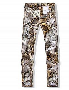 billige Herrebukser og -shorts-Herre Normal Enkel Uelastisk Skinny Bukser, Mellomhøyt liv Polyester og bomullsblanding Blomstret Vår