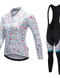 billige Sykkelklær-Malciklo Dame Langermet Sykkeljersey med bib-tights - Hvit Svart Sykkel Klessett, Fort Tørring, Hold Varm, Anatomisk design, Refleksbånd