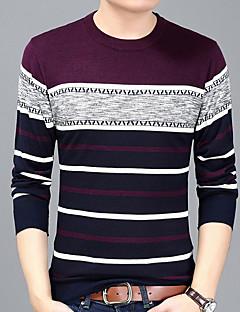 お買い得  メンズファッション&ウェア-男性用 Tシャツ ラウンドネック ストライプ