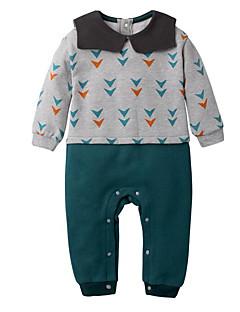 billige Babytøj-Baby Unisex En del Daglig Geometrisk, Polyester Forår Langærmet Simple Lysegrå
