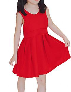 billige Pigekjoler-Pigens Kjole Daglig Ferie Ensfarvet, Bomuld Polyester Sommer Uden ærmer Simple Afslappet Rød