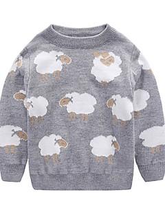 billige Sweaters og cardigans til piger-Unisex Trøje og cardigan Daglig Ferie Dyretryk, Bomuld Vinter Efterår Langærmet Aktiv Lyserød Grå