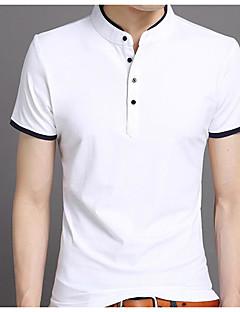 Χαμηλού Κόστους Hot White Summer-Ανδρικά T-shirt Μονόχρωμο Όρθιος Γιακάς Βασικό
