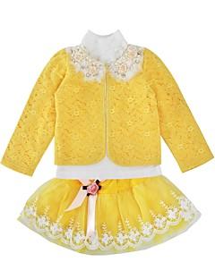 billige Tøjsæt til piger-Pige Tøjsæt Daglig Ferie Trykt mønster, Bomuld Polyester Forår Efterår Langærmet Aktiv Gul