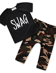 billige Tøjsæt til drenge-Drenge Unisex Daglig I-byen-tøj Trykt mønster Tøjsæt, Bomuld Polyester Sommer Kortærmet Afslappet Gade Sort