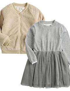 billige Tøjsæt til piger-Pige Tøjsæt Daglig Ensfarvet, Polyester Forår Langærmet Vintage Kakifarvet