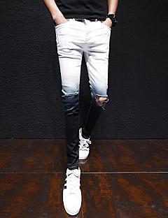 billige Herrebukser og -shorts-Herre Bomull Lin Jeans Bukser Ensfarget
