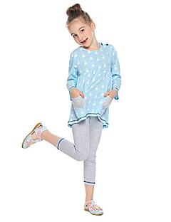 billige Tøjsæt til piger-Pige Daglig Skole Ensfarvet Stribet Tøjsæt, Modal Forår Efterår Langærmet Simple Kineseri Lyserød Lyseblå Lysegrå