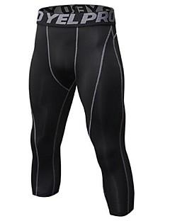 billiga Träning-, jogging- och yogakläder-Herr 1st 3/4-capribyxor för jogging - svart / silver, Svart / röd, Svart / grön sporter 3/4 Strumpbyxor Fitness, Gym, Träna Sportkläder Lättvikt, Snabb tork, Anatomisk design Elastisk