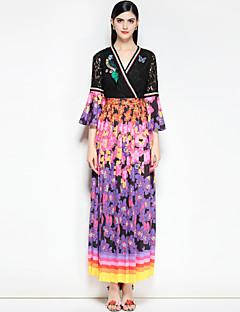 billige AW 18 Trends-Dame Bohem Bomull Tynn Swing Kjole - Blomstret / Fargeblokk, Grunnleggende V-hals / Skjortekrage Maksi