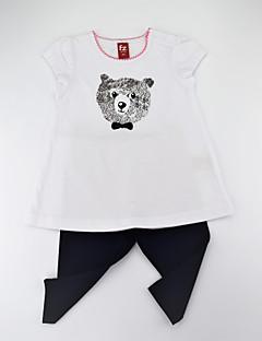 billige Tøjsæt til piger-Pige Tøjsæt Daglig Dyretryk, Bomuld Sommer Kortærmet Afslappet Hvid