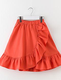 billige Pigenederdele-Pige Nederdel Ensfarvet, Polyester Forår Uden ærmer Blå Rød