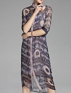 ieftine PROVERB-Pentru femei De Bază Cămașă Rochie Floral Stil Nautic Midi