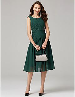billiga Klänningar till speciella tillfällen-A-linje V-hals Telång Chiffong Cocktailfest Klänning med Korsvis / Veckad av TS Couture®