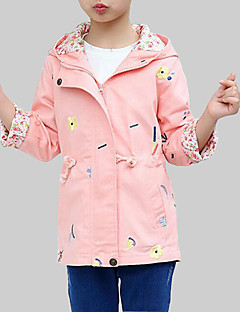 cheap Girls' Clothing-Girls' Daily Going out Floral Trench Coat, Rayon Spring Fall Long Sleeves Casual Street chic Blushing Pink Light Blue