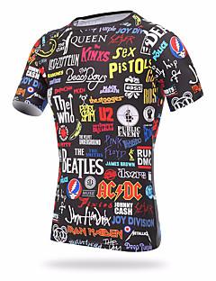billige Løbetøj-XINTOWN Herre Rund hals Løbe-T-shirt - Regnbue Sport Regnbue T-Shirt Kortærmet Sportstøj Hurtigtørrende, UV-resistent Høj Elasticitet