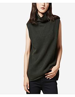 baratos Suéteres de Mulher-Mulheres Sem Manga Algodão Pulôver - Côr Sólida Algodão