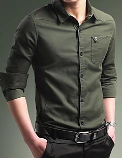 billige Plus Størrelser-Herre-Tynd Herre - Ensfarvet, Basale Vintage Skjorte