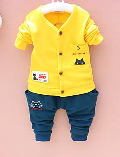 billige Tøjsæt til drenge-Drenge Tøjsæt Daglig Skole Ensfarvet Trykt mønster Jacquard Vævning, Bomuld Forår Efterår Langærmet Aktiv Orange Gul Lysegrøn