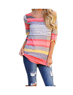 cheap -Women's Street chic Butterfly Sleeve T-shirt - Striped, Print
