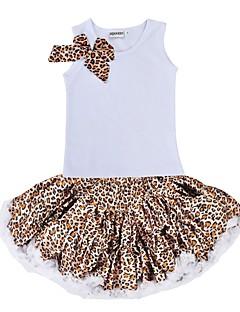 billige Tøjsæt til piger-Pige Tøjsæt Daglig Ferie Leopard, Bomuld Polyester Sommer Uden ærmer Sødt Hvid