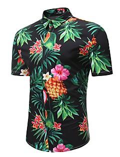 tanie Valentine's Day-Puszysta Koszula Męskie Boho, Nadruk Bawełna Plaża Kołnierzyk klasyczny Tropikalny Ananas / Krótki rękaw