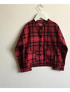 billige Pigetoppe-Pige Skjorte Daglig Ternet, Polyester Forår Langærmet Simple Rød