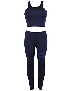 billige Løbetøj-Dame Aktiv beklædning sæt Uden ærmer Åndbarhed Underdele / Toppe for Yoga / Multisport / Jogging POLY Sort / Mørkeblå / Bourgogne S / M /