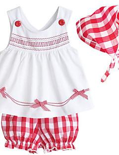 billige Sett med babyklær-Baby Pige Tøjsæt Daglig Geometrisk, Polyester Forår Uden ærmer Afslappet Hvid