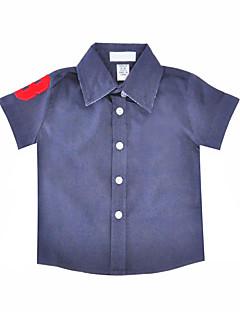 billige Overdele til drenge-Drenge Skjorte Daglig Ferie Ensfarvet, Bomuld Polyester Sommer Kortærmet Simple Blå Hvid Rød