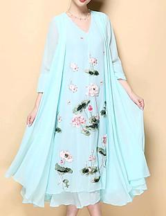 Χαμηλού Κόστους Long Sleeve Dresses-Γυναικεία Μεγάλα Μεγέθη Κινεζικό στυλ Βαμβάκι Σιφόν Φόρεμα - Φλοράλ, Στάμπα Μίντι Λαιμόκοψη V