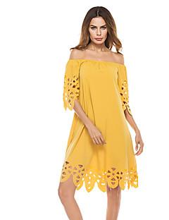 baratos Vestidos de Mulher-Mulheres Reto Vestido - Vazado, Sólido Decote Quadrado Cintura Alta