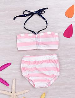 billige Sett med babyklær-Baby Pige Tøjsæt I-byen-tøj Stribet, Bomuld Spandex Forår Sommer Uden ærmer Aktiv Lyserød