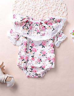billige Babytøj-Baby Pige En del I-byen-tøj Ferie Blomstret, Modal Forår Sommer Kort Ærme Sødt Boheme Beige