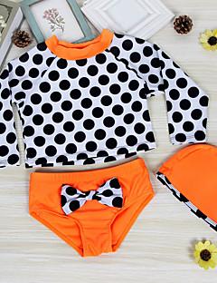 billige Badetøj til piger-Pige Sødt Aktiv Prikker Badetøj, Nylon Halvlange ærmer Orange