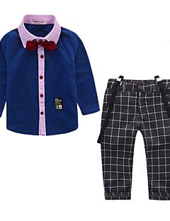 billige Tøjsæt til drenge-Drenge Tøjsæt Daglig I-byen-tøj Ruder Patchwork, Bomuld Akryl Polyester Forår Sommer Langærmet Simple Afslappet Navyblå Grå