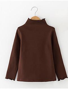 billige Pigetoppe-Pige T-shirt Daglig Ensfarvet, Polyester Forår Langærmet Simple Brun Lyserød Mørkegrå Rosa Vin