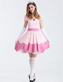 billige Halloweenkostymer-Prinsesse Kjoler Cosplay Kostumer Alle Halloween Maskerade Festival / høytid Halloween-kostymer Rosa Ensfarget