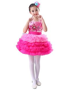 tanie Stroje baletowe-Balet Suknie Wydajność Poliester Wzorek / Nadruk Kryształy / kryształy górskie Warstwowane Bez rękawów Wysoki Ubierać