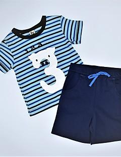 billige Tøjsæt til drenge-Drenge Tøjsæt Daglig Stribet Trykt mønster Farveblok, Bomuld Sommer Afslappet Blå