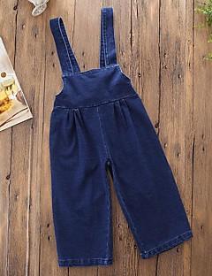 billige Bukser og leggings til piger-Pige Overall og jumpsuit Daglig I-byen-tøj Ensfarvet, Bomuld Polyester Forår Efterår Uden ærmer Simple Afslappet Blå