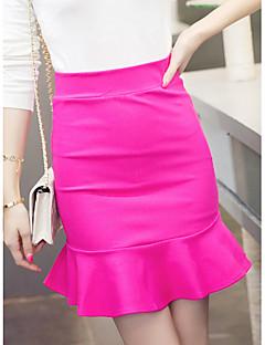 billige Kvinde underdele-Dame Havfrue A-linje Nederdele - Arbejde Ensfarvet