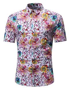 abordables Escapada a la playa-Hombre Boho / Chic de Calle Playa Tallas Grandes Estampado - Algodón Camisa Floral / Bloques / Manga Corta