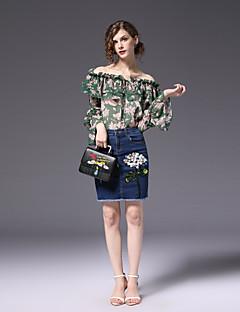 ieftine Costum Damă Două Bucăți-Pentru femei Sleeve Flare Activ Muncă Zvelt Bluză - Floral, Fustă Imprimeu De Pe Umăr