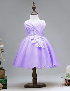 tanie Odzież dla dziewczynek-Sukienka Bawełna Poliester Dziewczyny Impreza Codzienny Jendolity kolor Wiosna Lato Bez rękawów Urocza Aktywny Gold Purple