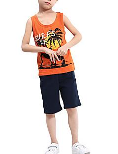 billige Tøjsæt til drenge-Drenge Tøjsæt Daglig Geometrisk, Polyester Sommer Uden ærmer Simple Vintage Orange