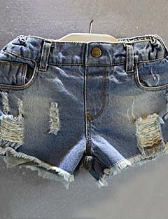 billige Bukser og leggings til piger-Trykt mønster Pigens Daglig Rayon Sommer Kortærmet Kjole Afslappet Blå