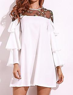 billige Kjoler-Dame Plusstørrelser Basale Bomuld Løstsiddende Løstsiddende Kjole - Ensfarvet Over knæet Hvid